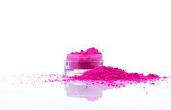 Jar with powder. Jar with red make-up powder Royalty Free Stock Photos