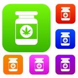Jar of powder marijuana set collection Royalty Free Stock Photography
