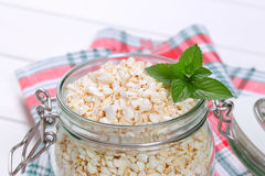 Jar of puffed buckwheat Royalty Free Stock Image