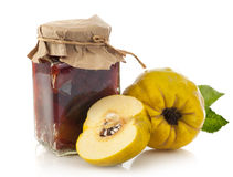 Jar of quince jam Royalty Free Stock Image