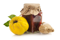 Jar of quince jam with fresh quince fruit and ginger Royalty Free Stock Photography