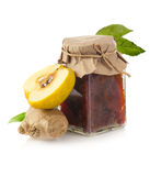 Jar of quince jam with ginger and quince fruit Stock Photography