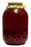 Jar with raspberry compote on  white background Stock Photo