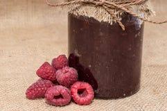Jar with Raspberry Jam Stock Image