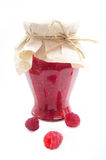 Jar of raspberry jam Royalty Free Stock Image