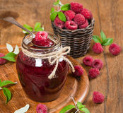 Jar of raspberry jam and  fresh berries Stock Photo