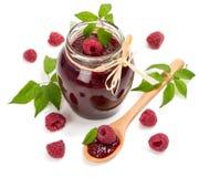 Jar of raspberry jam Royalty Free Stock Photo