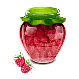 Jar of raspberry jam Royalty Free Stock Photos