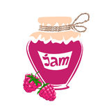 jar of raspberry jam Royalty Free Stock Images