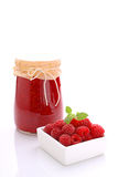 Jar with raspberry jam Stock Photography
