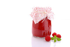 Jar with raspberry jam Stock Image