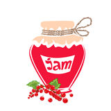 Jar of Red currant jam Royalty Free Stock Photos