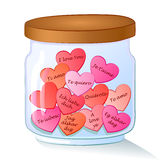 Jar with red hearts and I Love You text in many Stock Image