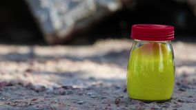 Glass jar in the nature stock video footage