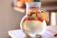 A jar of refreshing white sangria. With fruit Royalty Free Stock Images