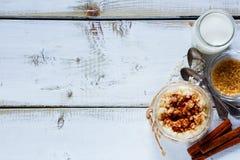 Jar of rice pudding Royalty Free Stock Photo