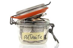 Jar with savings for retirement royalty free stock image