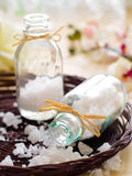 Jar of sea salt Stock Images