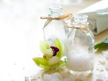 Jar of sea salt Royalty Free Stock Photo