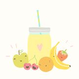 Jar with smoothie and funny fruits. Vector EPS 10 hand drawn illustration Royalty Free Stock Images