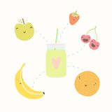 Jar with smoothie and funny fruits. Vector hand dawn illustration Stock Photos