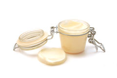 Jar with some white creamy substance Stock Image