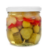 A jar with spanish banderillas, skewers with pickles Royalty Free Stock Photo
