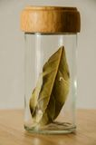 Jar with spice leaf Royalty Free Stock Photos