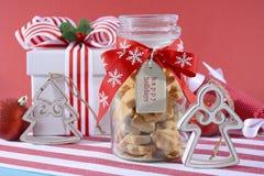 Jar of Star Shaped Shortbread Cookies. Stock Image