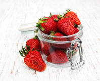 Jar with strawberries Royalty Free Stock Photos