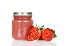 Jar of strawberry baby food Royalty Free Stock Photo