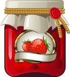 Jar of strawberry jam. Over white. EPS 8 Stock Photography