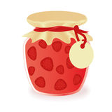 Jar of strawberry jam Stock Image