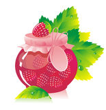 Jar of strawberry jam. And strawberry Royalty Free Stock Photos