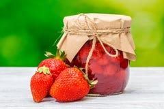Jar strawberry jam Stock Images