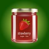 Jar of strawberry jam Royalty Free Stock Image