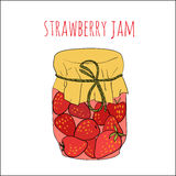 Jar of strawberry jam isolated on white Royalty Free Stock Photo