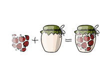 Jar with strawberry jam, sketch for your design Royalty Free Stock Images