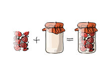 Jar with strawberry jam, sketch for your design Stock Photography