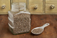 Jar and tablespoon of chia seeds Stock Photography