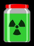 Jar with toxic liquid and radioactive symbol Royalty Free Stock Images