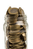 Jar of Turkish coins in isolated on white background Stock Photo