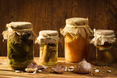 Jar with vegetables and mushroom royalty free stock photography