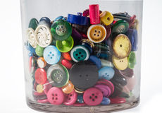 Jar of vintage buttons Royalty Free Stock Photography