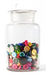 Jar of vintage buttons Stock Photo