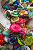 Jar of vintage buttons, detail Stock Images
