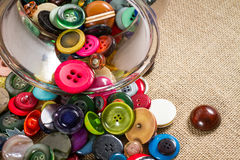Jar of vintage buttons Stock Photography