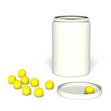 Jar with  vitamins. Jar with the lid open with vitamins Stock Photo