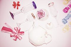 Jar and wine glasses on white background Stock Image