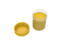 Jar of yellow paint isolated on white background, 3d rendering Royalty Free Stock Photos
